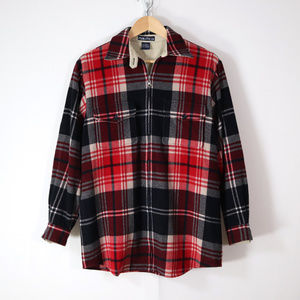 vintage nautica plaid wool zip front shirt 4 S